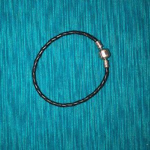 Pandora black leather braided bracelet-obo